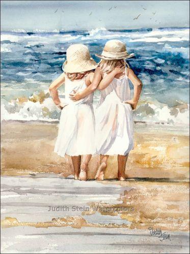 Judith Stein Watercolors - Children on the Beach