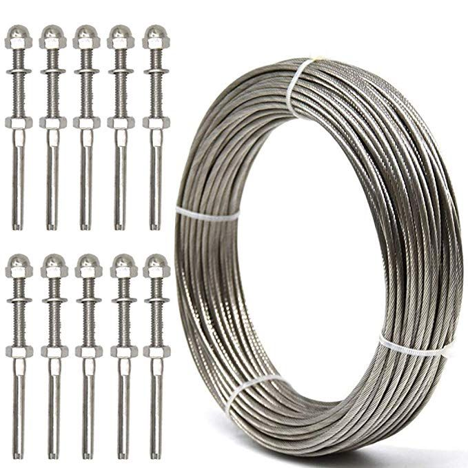 Weltek Deck Cable Railing Kit 10 Pack Threaded Stud Tension End Fitting Terminal 105 Feet 1 8 Stainless Cable Railing Wood Deck Railing Cable Stair Railing