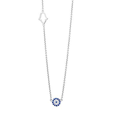 Lucky Evil Eye Necklace (42cm + 3cm extension) Sterling Silver with 19 blue & white CZ gemstones