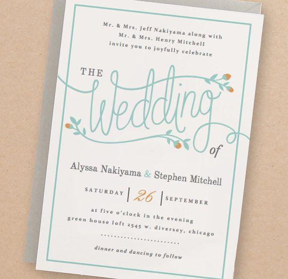 Druckbare Hochzeit Einladungsvorlage  von SwellAndGrand auf Etsy