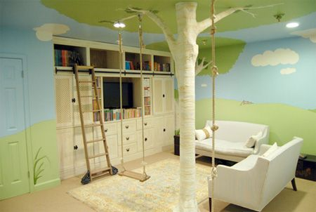 this treehouse bedroom is so creative; i especially love the storage wall with rolling ladder.