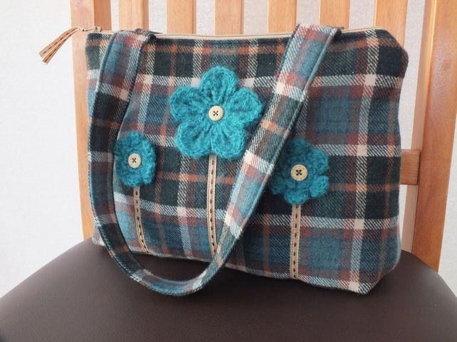 Handbag - teal and brown tartan with crochet flowers £26.95