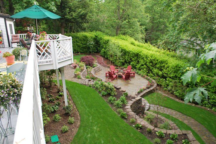 Decorative and functional steep backyard.