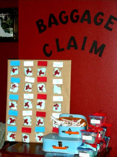 Great way to store the bags of crafts and cards for each kid