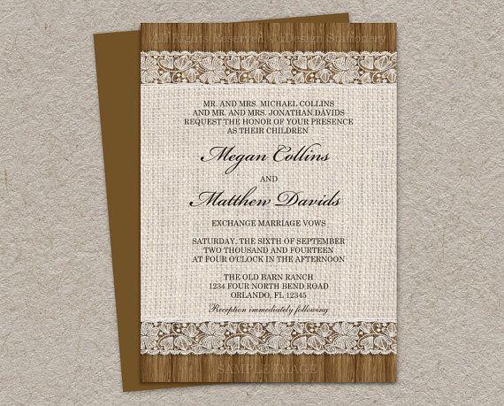 Invito a nozze rustiche con tela e pizzo di iDesignStationery
