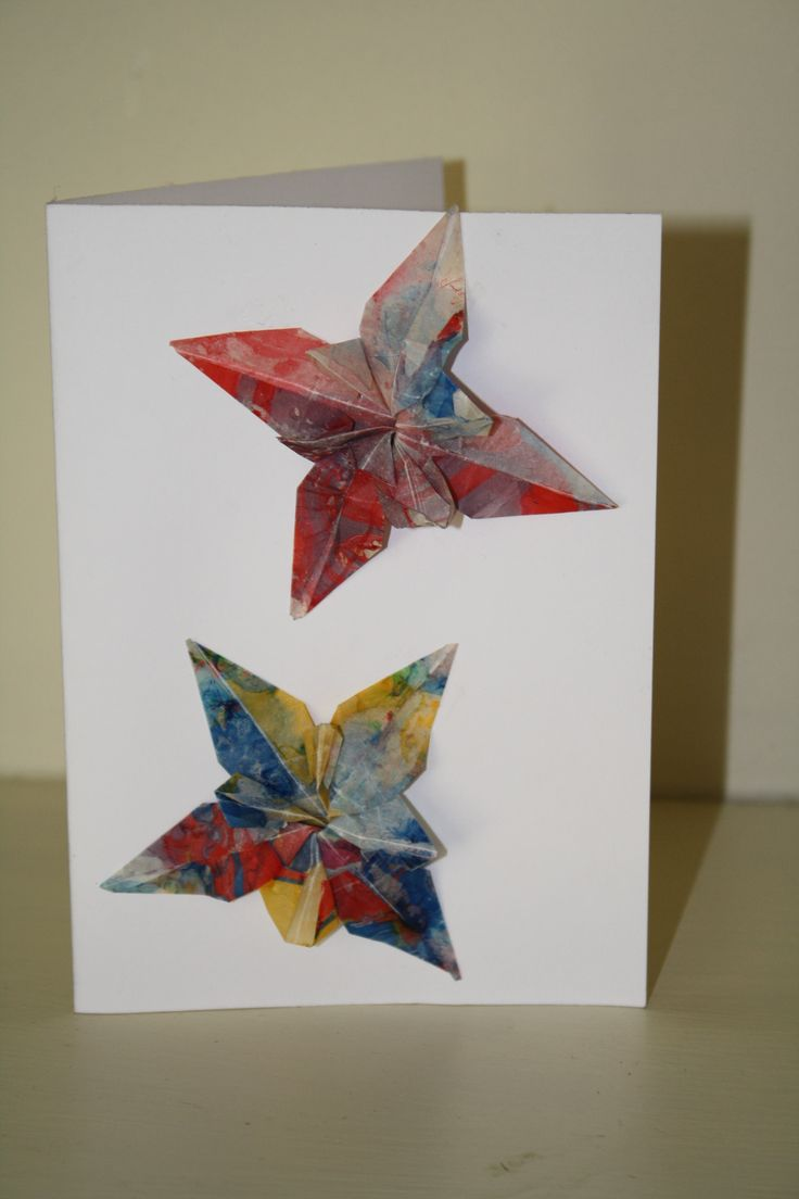 Card with origami flowers.