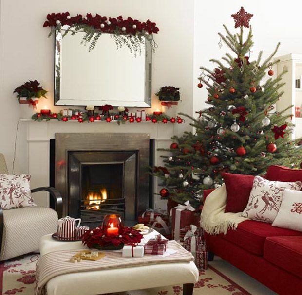 24 Fotos De Salas Decoradas Para O Natal Lareira De