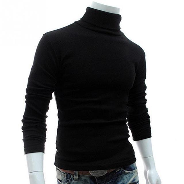 Autumn Winter Men Slim Warm Cotton High Neck Pullover Jumper