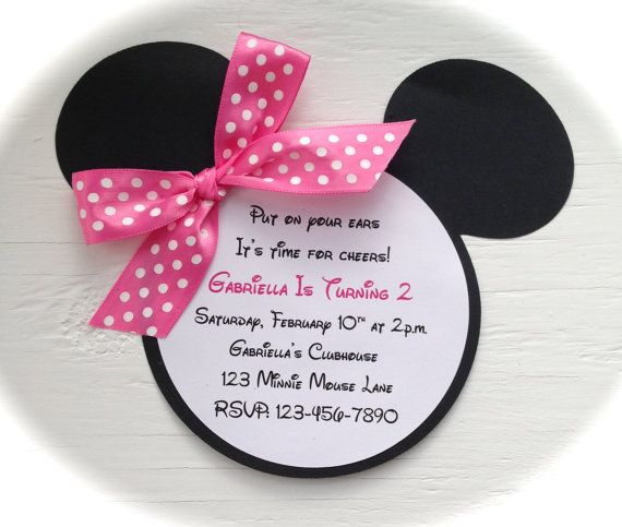 10 Handmade Minnie Mouse Invitations with by GabbyCatCreations
