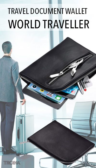 TROIKA WORLD TRAVELLER. Travel document wallet with zip, 7 internal compartments, 1 external compartment, suitable for pens, tickets, passport, boarding cards etc., *** Reiseetui mit Reißverschluss, 7 Innenfächer, 1 Außenfach, passend für Stifte, Tickets, Pass, Boardingkarten, e