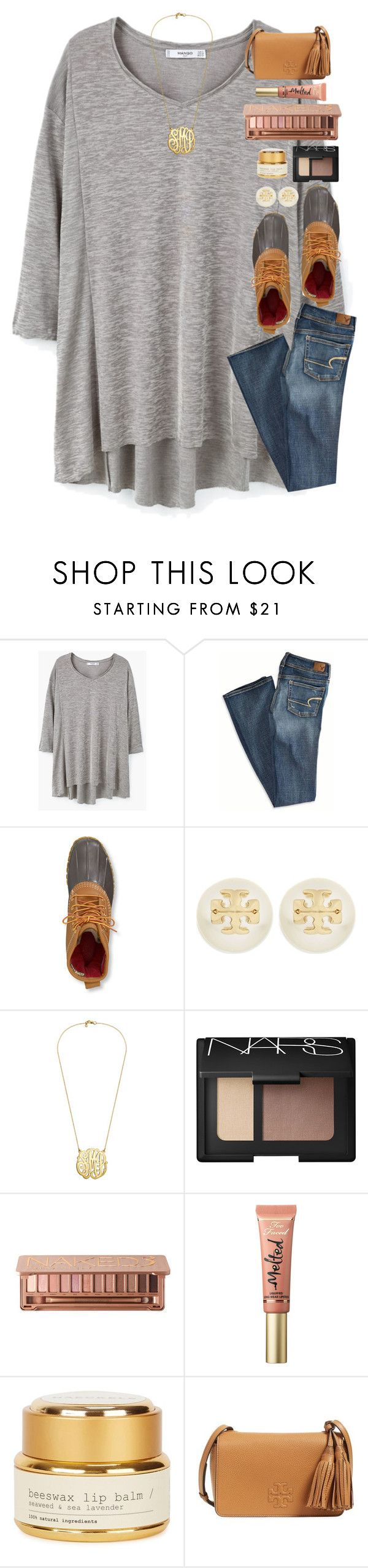 """""""Let's get lost in a world full of books, rainy days, and hot coca."""" by classyandsassyabby ❤ liked on Polyvore featuring MANGO, American Eagle Outfitters, L.L.Bean, Tory Burch, NARS Cosmetics, Urban Decay, Too Faced Cosmetics and Haeckels"""