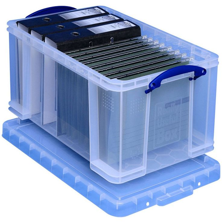 Really Useful Box Opbergbox 48 liter ordners/hangmappen transparant, L 600 x B 400 x H 310mm | Staples.nl