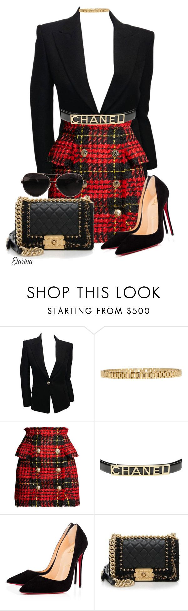 """Untitled #340"" by elarina ❤ liked on Polyvore featuring Balmain, AMBUSH, Chanel and Christian Louboutin"