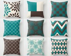 Teal Brown Pillows, Pillow Covers, Teal Chocolate Beige, Home Decor, Decorative Pillow Covers, Cushion Cover, Mix and Match, Chevron, Floral
