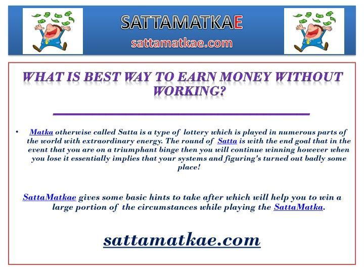 Free SattaMatkaGuessing, Satta Bazar Result. We Are Here To Provide Fastest Satta Matka Results,  Visit Our SattaMatkae And Get Great Profit. We Provide Fix Satta Matka Number, Satta Matka Results To Get Income In Matka Live World. Our Team Provide Best & Satta Matka Tips and Tricks, Kalyan Matka Tips, And SattaMatka Tricks. Join SATTAMATKAE.COM Family to get Full gain and earn MORE money.