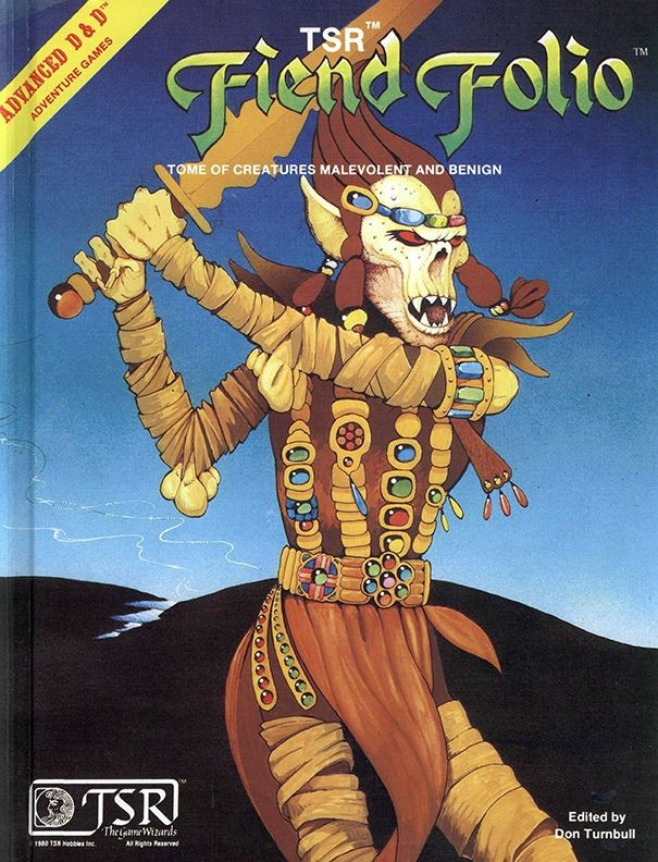 Fiend Folio (1e) | Book cover and interior art for Advanced Dungeons and Dragons 1.0 - Advanced Dungeons & Dragons, D&D, DND, AD&D, ADND, 1st Edition, 1st Ed., 1.0, 1E, OSRIC, OSR, Roleplaying Game, Role Playing Game, RPG, Wizards of the Coast, WotC, TSR Inc. | Create your own roleplaying game books w/ RPG Bard: www.rpgbard.com | Not Trusty Sword art: click artwork for source