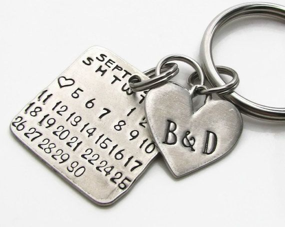 Hand Stamped Personalized Calendar Key Chain. Mark the Day Calendar Collection by Regina Lynn Design. This is a perfect present for any special occasion or day. Personalized with the month, day and year of your choice. The heart is personalized with the initials of your choice also. ***Please Note*** The font used for the initials on the heart do have varying sized letters. While all are uppercase some letters are bigger then others as part of the font design. The heart with the J&L on i...