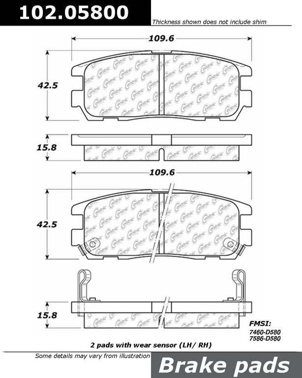Brand:Centric Part Number:102.05800 Category:Brake Pad  Price : $12.06 2Years Warranty,lowest Prices On Acura Brake pads