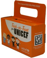 Trick or Treat for Unicef- I liked doing this. he tradition of 'Trick-or-Treat for UNICEF' began in 1950 in the United States, when Philadelphia schoolchildren first went door-to-door at Halloween collecting money in decorated milk cartons to help their global peers