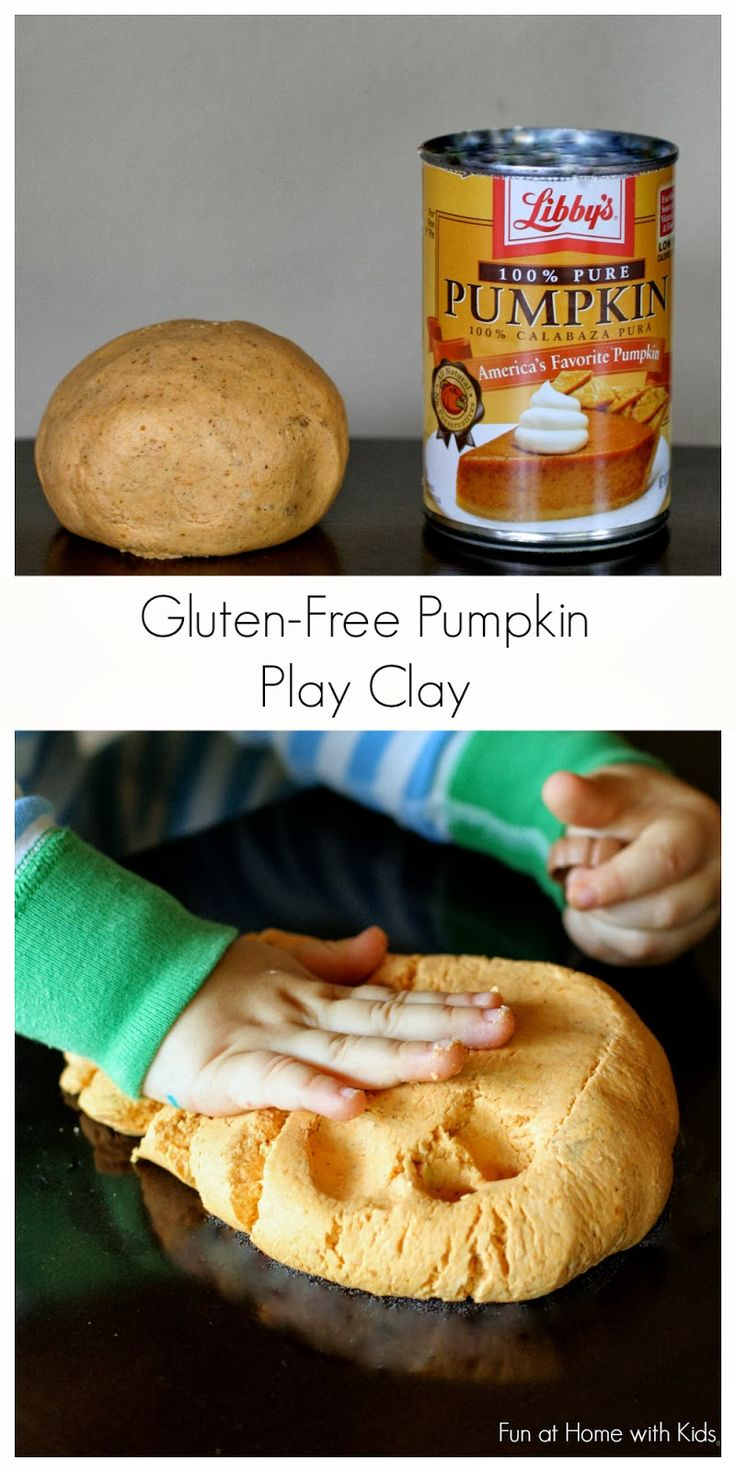 No Cook Gluten Free Edible Pumpkin Pie Play Clay from Fun at Home with Kids.  Best thing about this stuff?  You use it with the pumpkin puree leftover after making a recipe that only calls for half a can.