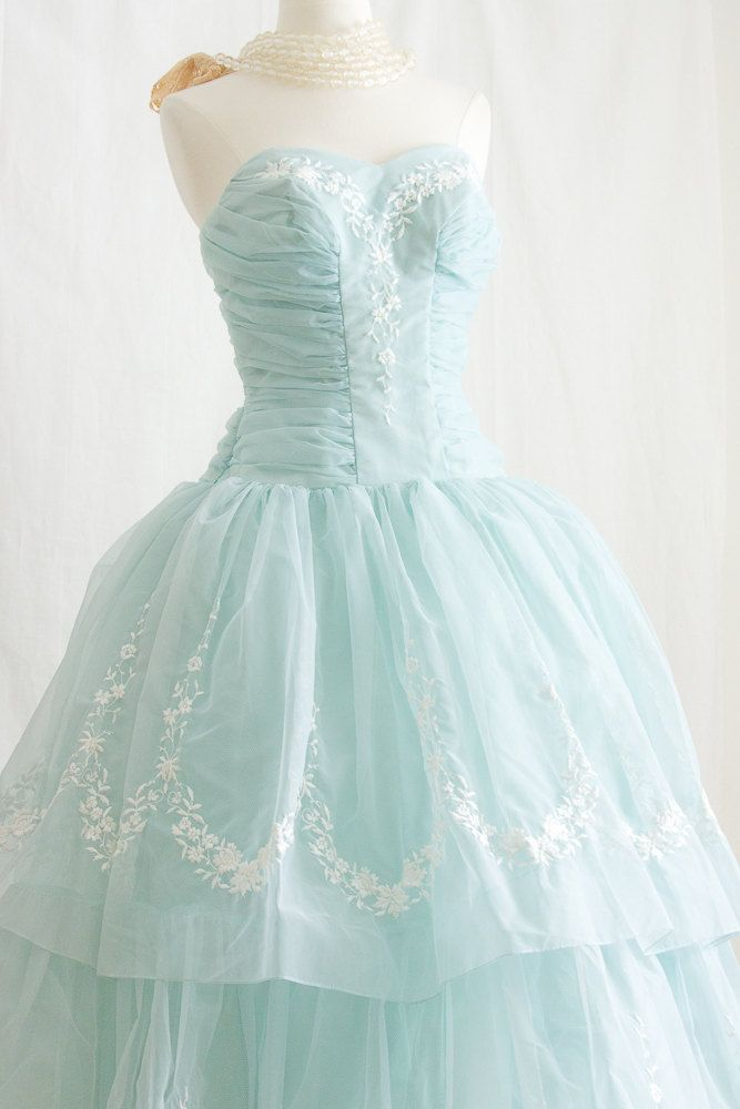 1950s  Prom Dress, in Tiffany Blue - Embroider STRAPLESS Party Dress. $800.00, via Etsy.
