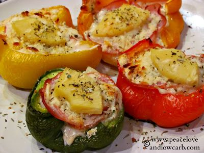 Hawaiian Pizza Stuffed Peppers March 16, 2013 By Peace Love and Low Carb Leave a Comment Hawaiian Pizza Stuffed Peppers