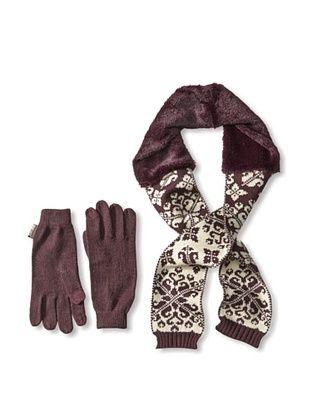 58% OFF MUK LUKS Women's Faux Fur Neck Wrap & Tech Gloves, Eggplant