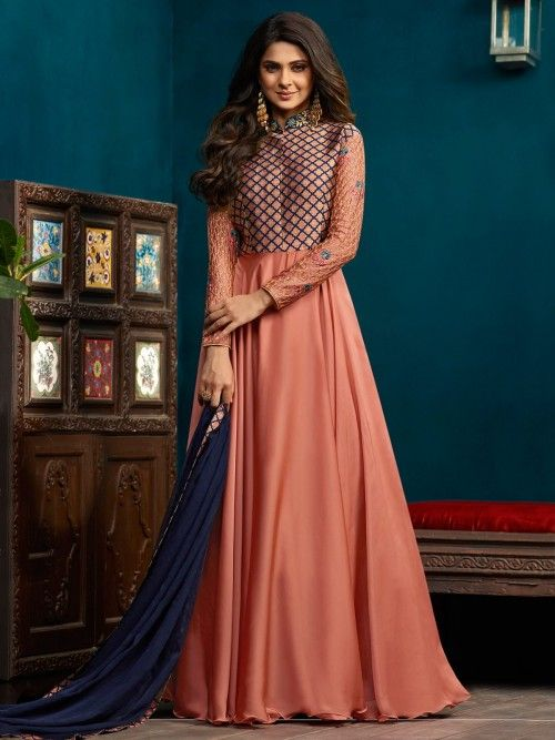 68835aaee620 Jennifer winget style peach anarkali suit online which is crafted from  silky georgette fabric with exclusive embroidery