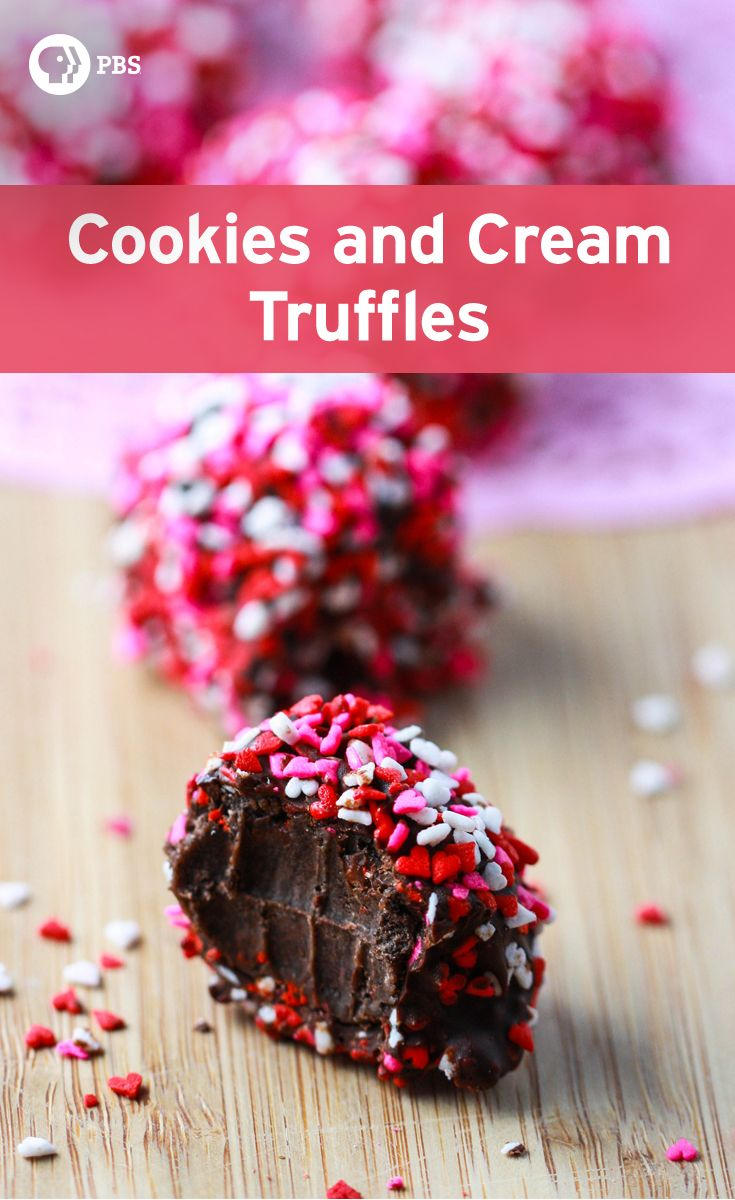 Make Cookies and Cream Truffles by combine chocolate sandwich cookies with cream cheese then roll in chocolate for a quick and easy dessert.