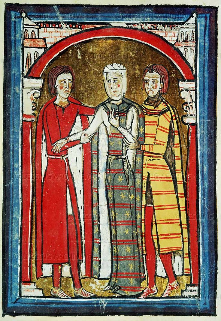 Romanesque codex of the 12th century: Liber Ceritanae: Queen and courtiers. I love the stars on the middle (Queen's) cote