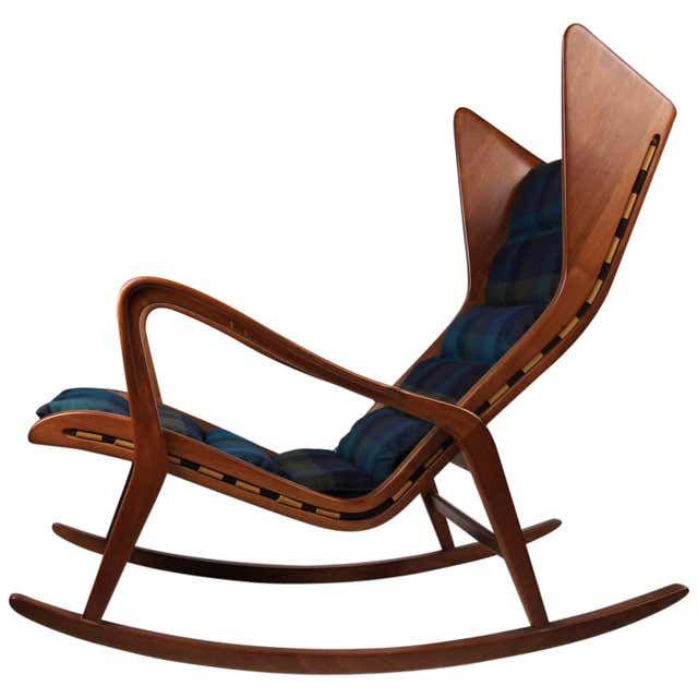 Studio Cassina 572 Rocking Chair In Ebonized Wood And Red Fabric In 2021 Rocking Chair Modern Rocking Chair Walnut Rocking Chair Wooden rocking chairs for sale