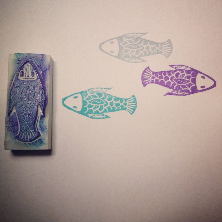 Fish (inspired by @Ishtar Albazi Olivera ) handcarved rubber stamp by Natàlia Trias