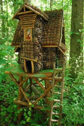 """Annmarie Sculpture Garden specializes in whimsical art. Here, a fairy house made of pine cones and twigs is on display as part of the annual """"Fairies in the Garden"""" exhibit. The exhibit will run this year from May 11 to Oct. 8."""