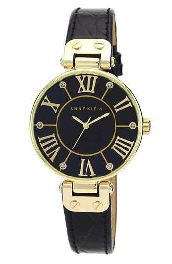 Anne Klein Croc Embossed Leather Strap Watch, 34mm available at #Nordstrom