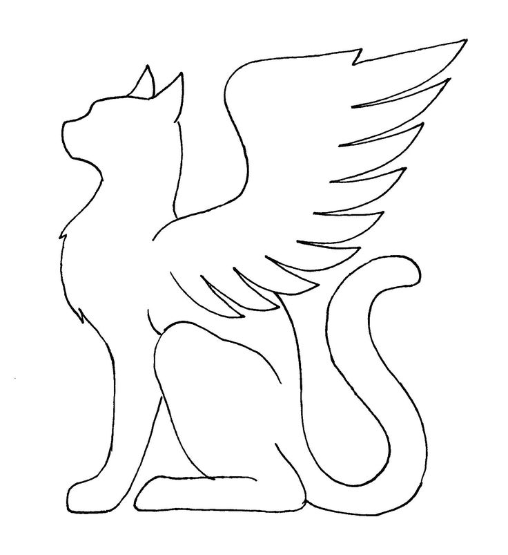 Картинки раскраски котенок ангел