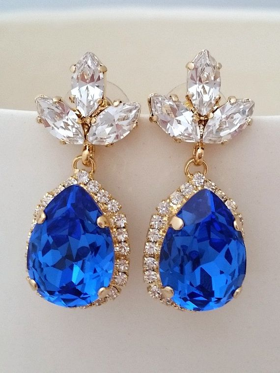 Sapphire blue crystal earrinsg | cobalt blue crystal earrings | sapphire blue wedding | bridal earrings | bridesmaids earrings |  Sapphire blue and clear Chandelier earrings by EldorTinaJewelry | can make with many other colors | http://etsy.me/1eEk4mx