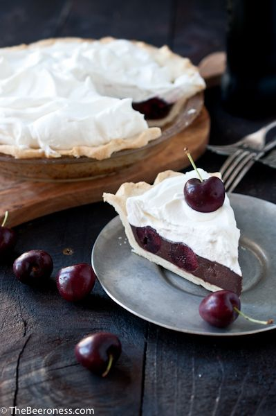 This pie combines sweetness with more sweetness—cherries and chocolate—in a fluffy, fruity desert.