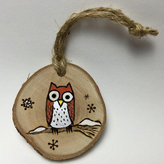 Handmade Owl Christmas Ornament  Wood Burned door Timmythewoodman