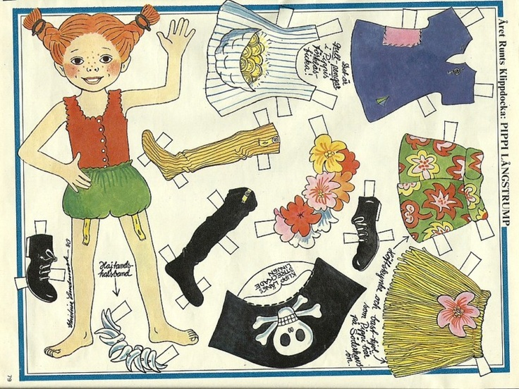 Pippi Longstocking Langstrump Vintage Paper Doll & Clothes | eBay