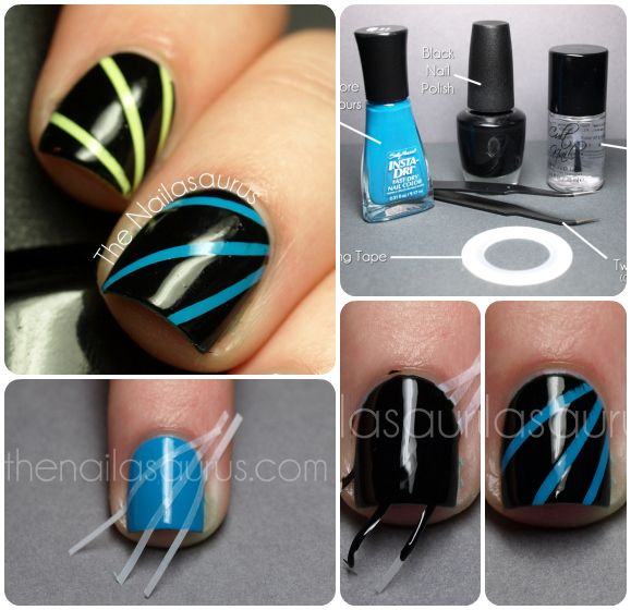 Laser (Disco, Moonbeam?) Nail Art Tutorial need polish, striping Tape and Tweezers