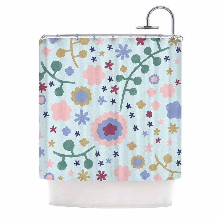 "Alik Arzoumanian ""Morning Flowers"" Pink Blue Shower Curtain"