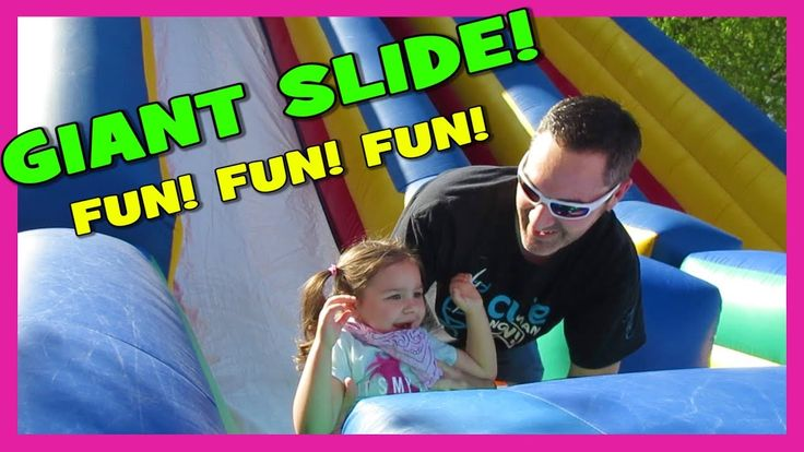 FIRST TIME ON GIANT INFLATABLE SLIDE! Happy Family Fun Vlog + Bouncy Cas...