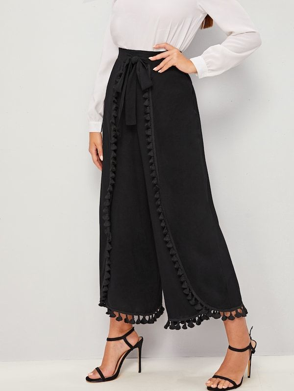 سروال بساق عريض مطوي بتفاصيل شرابة مع ربطة خصر شي إن Bottom Clothes Type Of Pants Fashion
