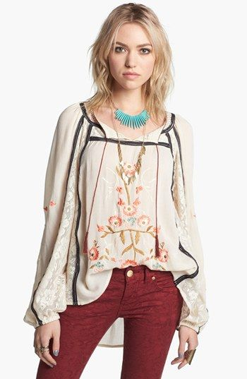 Free People 'Tiger Lily' Embroidered Top.  Wear with my black pleather leggings and heels for a night out.  #ABFallStyle