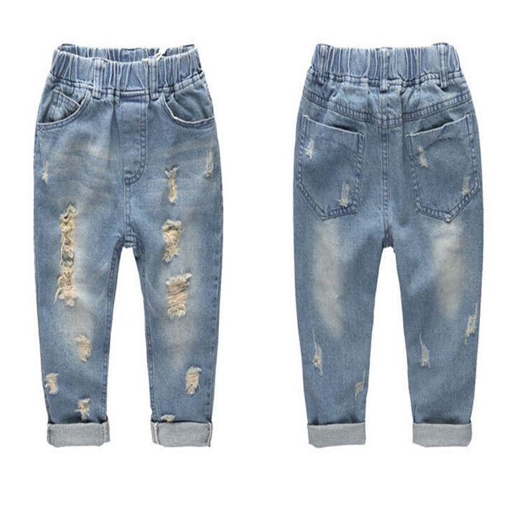2-7Y мальчики-младенцы брюки джинсы дети мальчик в малыш брюки дети одежда брюки свободного покроя одежда состаренные разрез