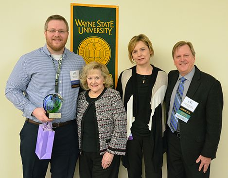 The inaugural Leonard N. Simons Award for Exemplary Research and Scholarly Achievement was presented to Jonathan Diedrich, a fifth year Ph.D. student in the prestigious Cancer Biology Graduate Program at the Barbara Ann Karmanos Cancer Institute and Wayne State University School of Medicine (WSU SOM). He received the award during the Seventh Annual Cancer Biology Research Symposium on Friday, March 31.