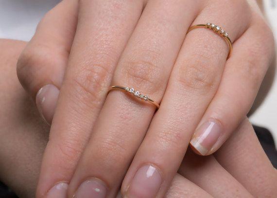 Diamond Gold Ring 18k Diamond Ring Dainty Diamond Ring