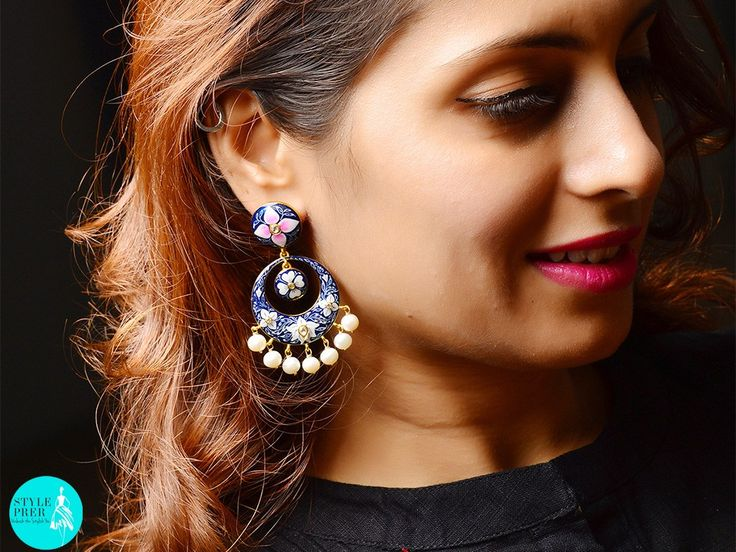 #pink #blue #white #enamel #earrings with #pearl drops #StylePrer