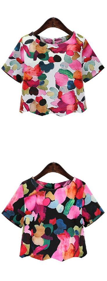 Cute floral crop blouse, only $18.13. It would be awesome with white pencil skirts and stiletto heels. Check this more at shein.com