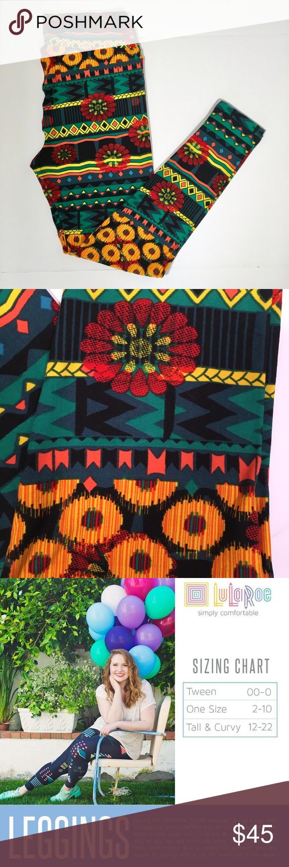 NWT LuLaRoe Tall Curvy Leggings Geo Flowers New with tags! Never worn! Tall and Curvy LuLaRoe leggings fit sizes 12-20. Bright flowers and geometric lines, stripes, tiny triangles, big daisies in gemstone colors green, gold, red, yellow, orange and black background. So comfy and soft! LuLaRoe Pants Leggings